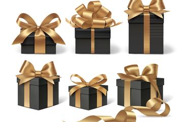 6款金色丝带装饰黑色礼盒矢量图
