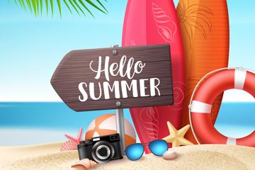 创意夏季沙滩上的木牌和度假物品矢量图