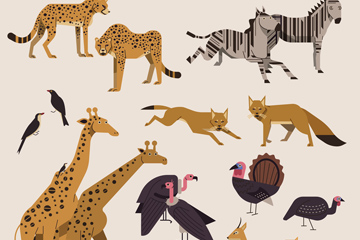 22款创意非洲野生动物矢量图