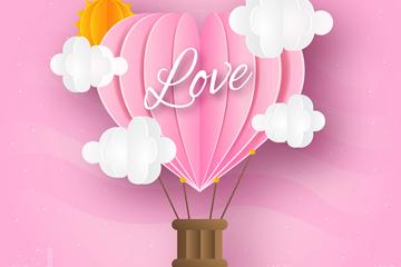 粉色爱心热气球剪贴画矢量素材