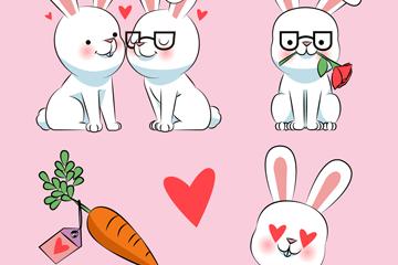 4款可爱白兔设计矢量素材