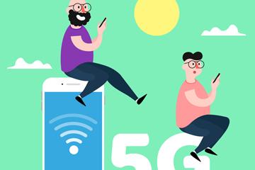 创意5G网络人物概念图矢量素材