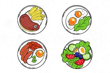 6款彩色菜肴俯视图矢量素材