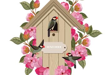 复古木制鸟屋和花卉矢量素材