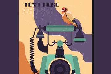 复古电话机和花鸟矢量素材