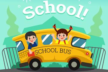 可爱返校校车和儿童矢量素材