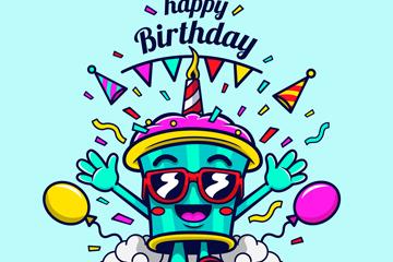 卡通奔跑的生日纸杯蛋糕矢量图