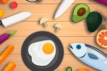 创意桌子上的厨具和果蔬矢量素材