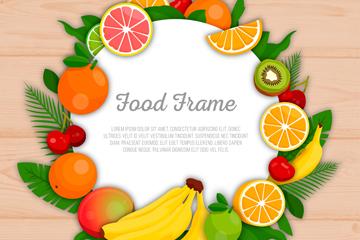 新鲜水果框架矢量素材