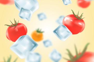 创意冰块和番茄矢量素材