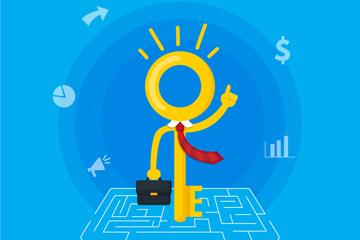 创意走迷宫的商务钥匙矢量图