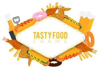 ��意美味食物框架矢量素材