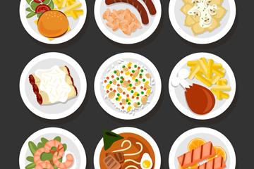 9款美味餐盘里的菜肴俯视图矢量素材
