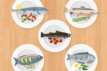 5款美味鱼料理俯视图矢量素材