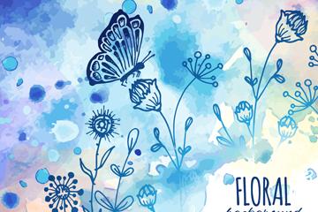 水彩�L�{色花卉和蝴蝶矢量素材
