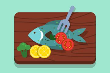 创意菜板上的鱼料理矢量素材