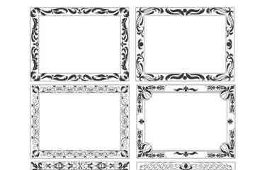 6款黑色花�y框架矢量素材
