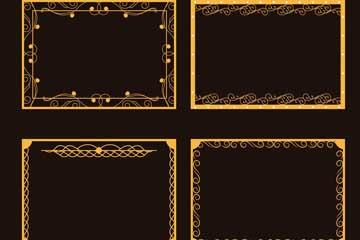 4款金色方形花�y框架矢量�D