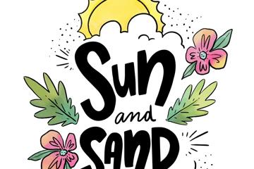 彩绘花卉装饰太阳和沙滩艺术字矢量图