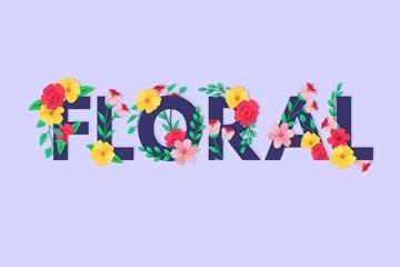 彩色花卉装饰花艺术字矢量图