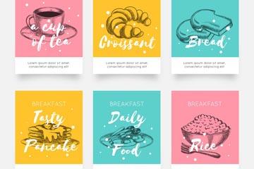 6款手绘早餐食物卡片矢量图