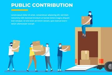 创意公益捐助搬运物资插画矢量图
