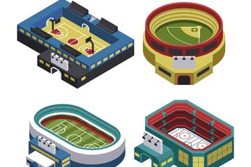 4款立体体育场馆设计矢量素材