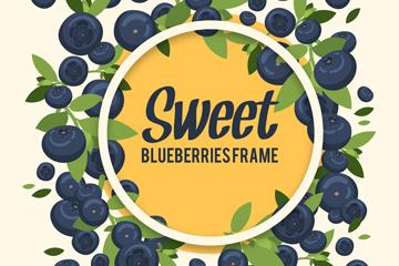 甜蜜蓝莓框架矢量素材