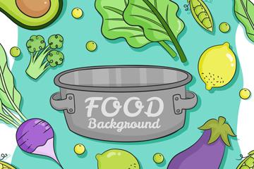 创意炖锅和8款蔬菜矢量素材