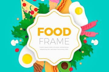 彩色食品框架设计矢量素材
