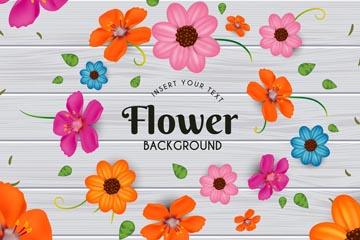 灰色木板上的彩色花朵矢量�D