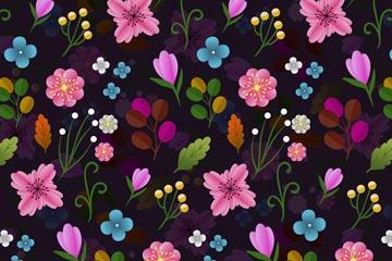 创意黑底抽象花卉无缝背景矢量图