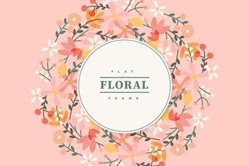 扁平化花卉框架设计矢量图