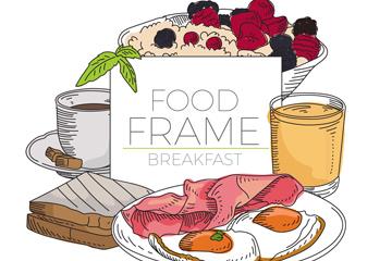 彩�L早餐食物框架矢量素材