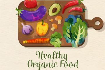 水彩�L菜板上的健康有�C食物矢量�D