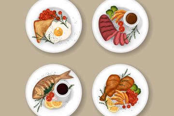 4款美味菜肴俯��D矢量素材