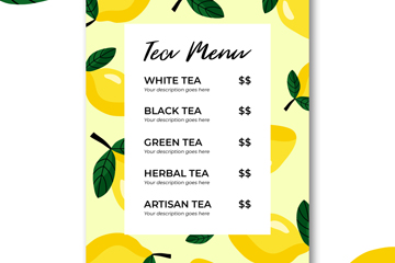 创意柠檬茶水单设计矢量图
