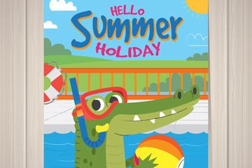 创意玩水的鳄鱼夏季度假传单矢量