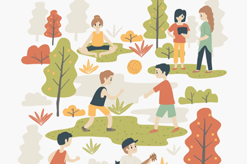 7个创意户外休闲运动人物矢量图