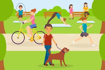创意公园户外休闲运动人物矢量图
