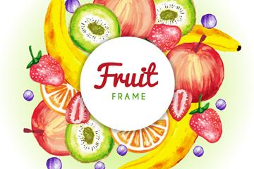 水彩�L水果框架�O�矢量�D
