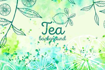 彩�L��檬和茶�~矢量素材
