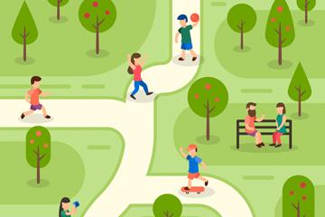 创意公园运动无表情人物矢量图
