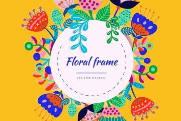 彩色抽象花卉框架矢量素材