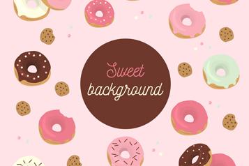 彩色美味甜甜圈矢量素材