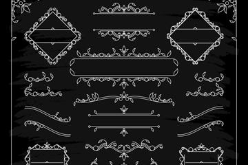 14款白色花�y花�和框架矢量素材