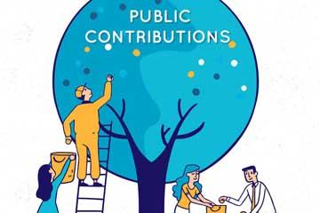 彩色公众捐助人物插画矢量图