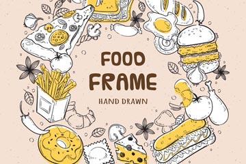 手�L美味食物�A形框架矢量�D