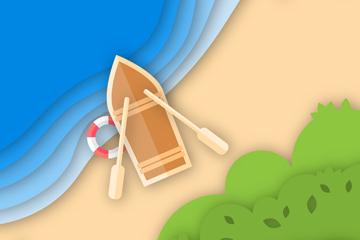创意沙滩上的小船俯视图矢量素材