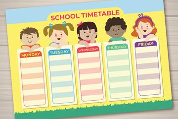 可爱儿童校园课程表矢量素材